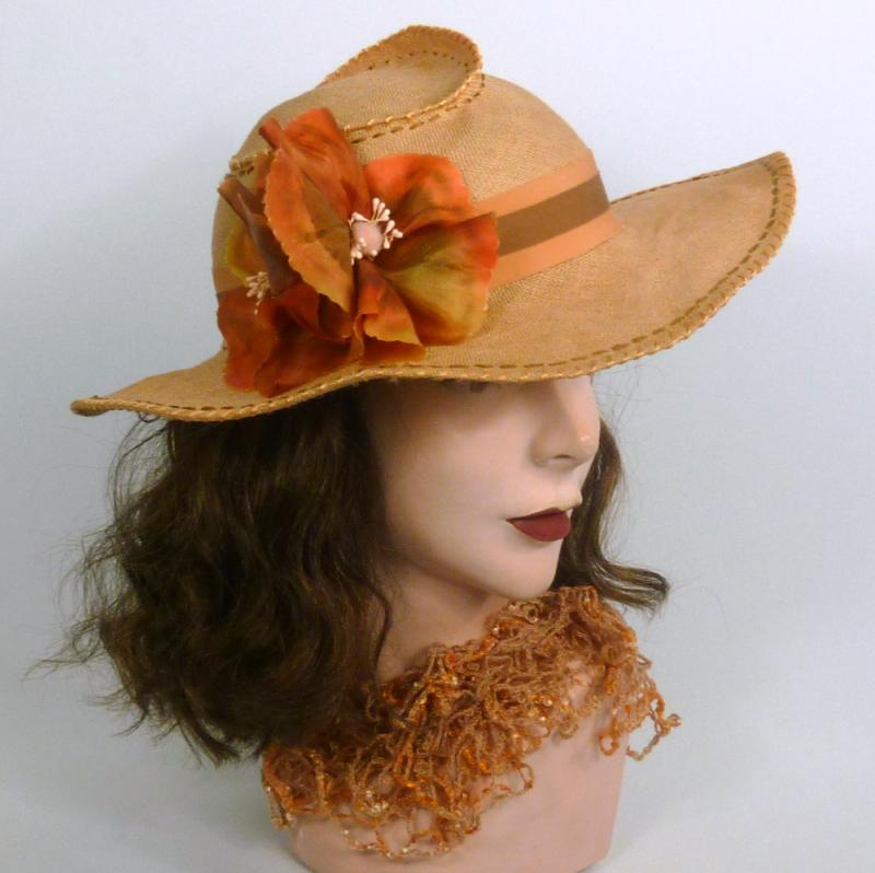 Woven Linen Straw Picture Sun Hat -Hand Dyed Hand Made Flowers -Salmon & Brown