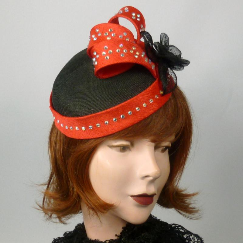 Red and Black Fascinator Cocktail Hat - Pillbox style