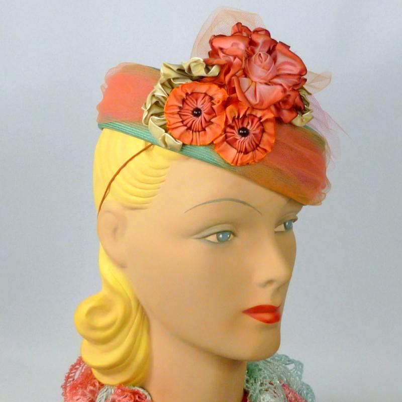 Turquoise & Tangerine Straw Pillbox Fascinator Hat