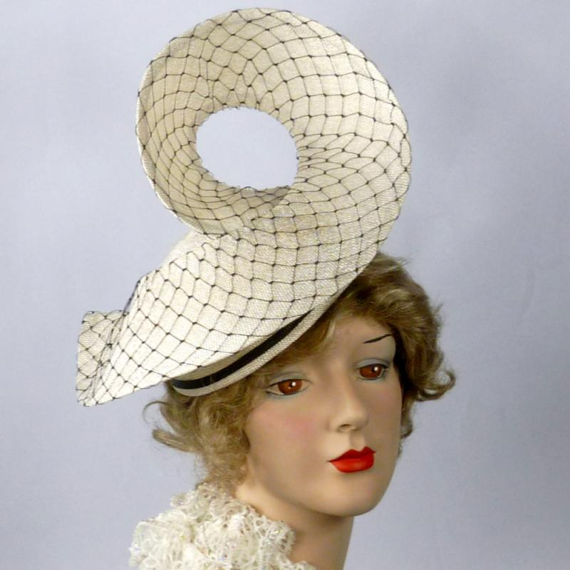 White Straw Swirl Hat - Vintage Black Veiling -Black straw accents -Hand Made