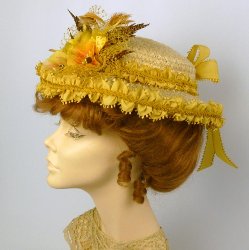 Reproduction Victorian Straw Boater Style Hat in Yellows
