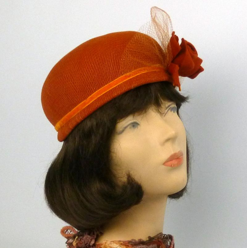 Burnt Orange Felt Pillbox Toque Hat - Veiling - Felt Flowers - Velvet Ribbon