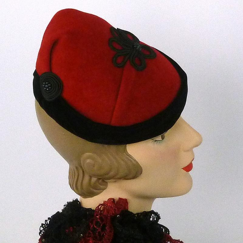 Red Velour Felt Fascinator Hat Trimmed in Black Velvet -Hand Made
