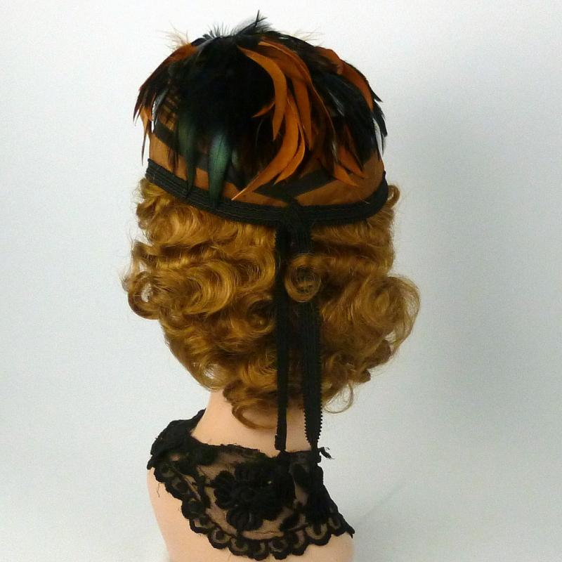 Repoduction 1865 Bonnet Hat in Rust & Black - Feathers - Moire