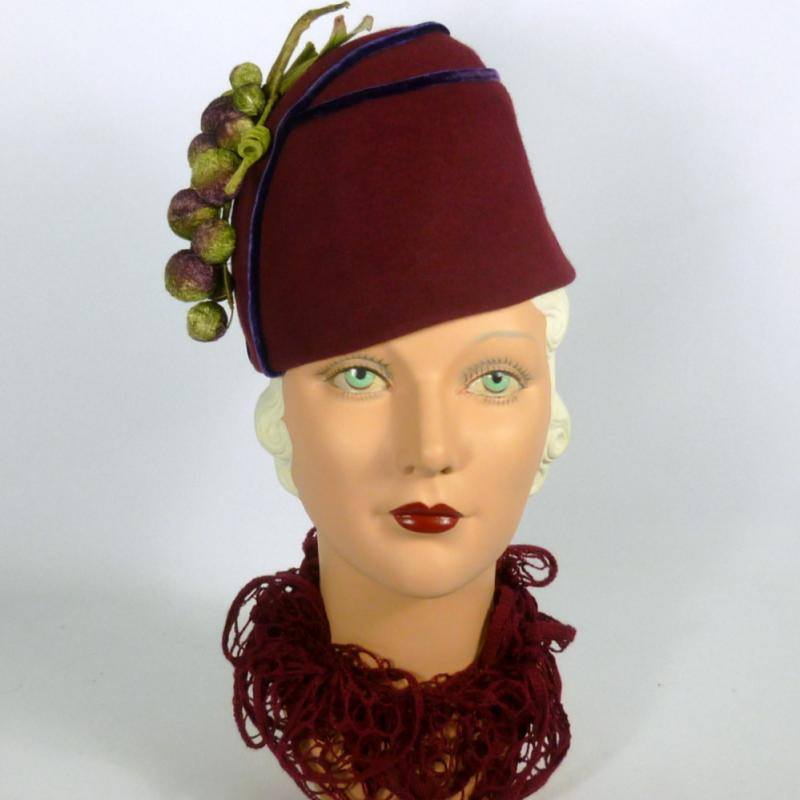 Reproduction 1930s Fez Style Hat - Marsala Wine, Royal Purple, and Green