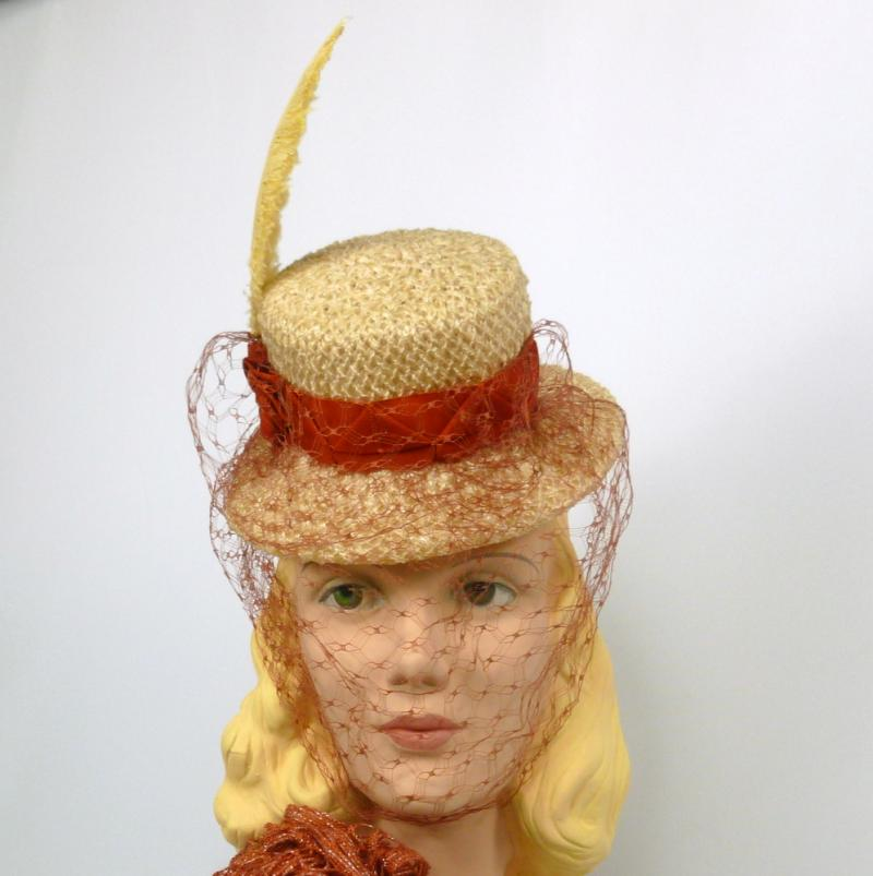 Mini Straw Top Hat - Pale Yellow & Rust - Hand Made - Ribbon Work - Veiling