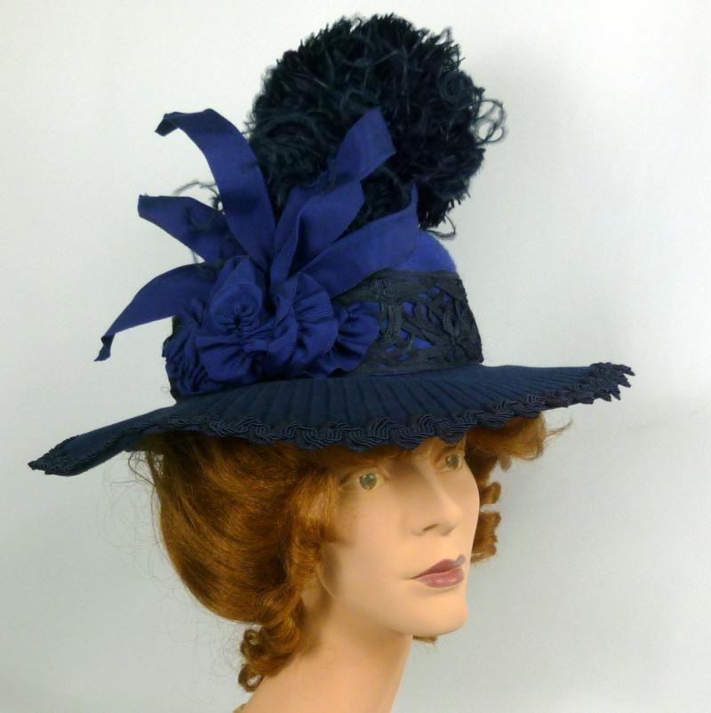 Reproduction Blue Felt Victorian Edwardian Hat 1890 to1918