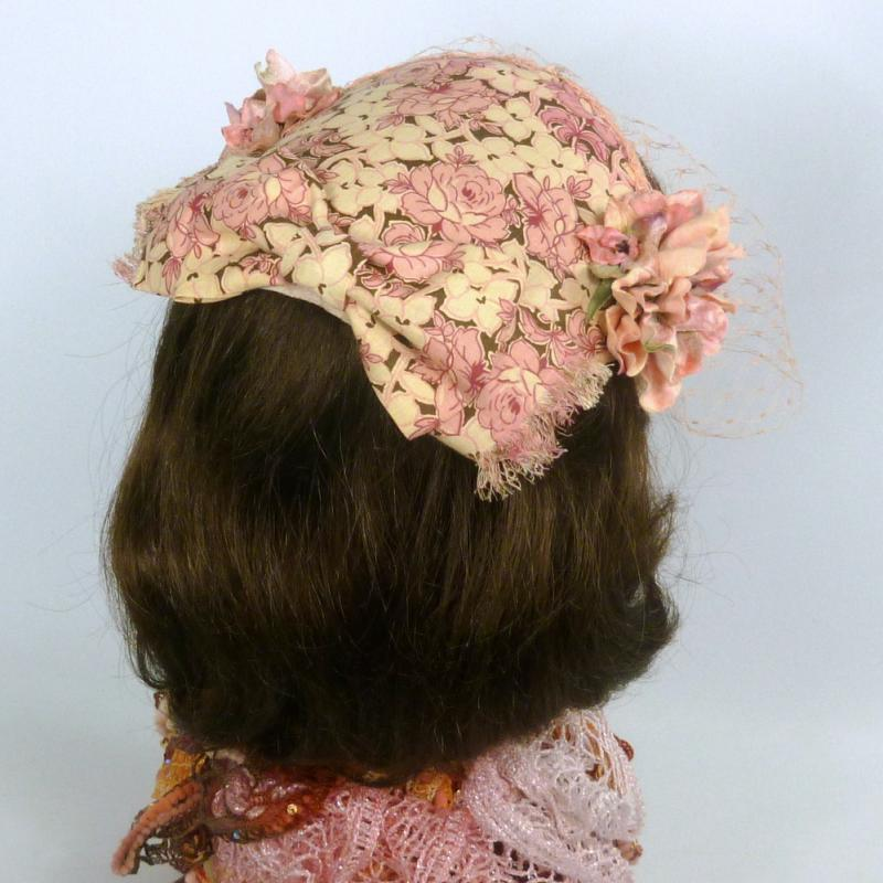 1950s Style Pink Fascinator Hat -Handmade-Vintage French Veiling