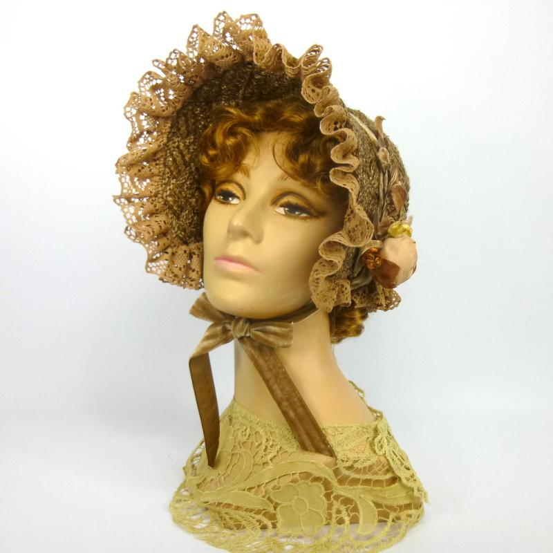 Repoduction 1800s Day Bonnet -Vintage Brown Straw