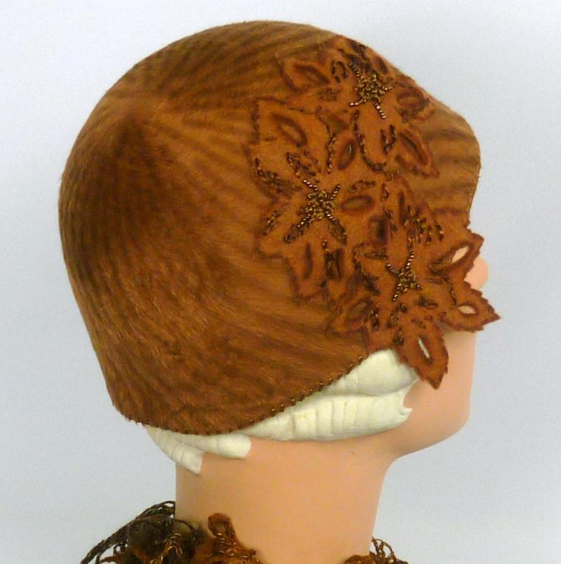 Rust and Brown Striped Cloche Hat - Vintage Fur Felt - 1920s - 1930s Style
