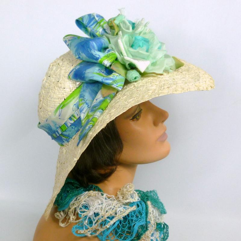Large Brim White Straw Kentucky Derby Hat-Accented in Shades of Blue