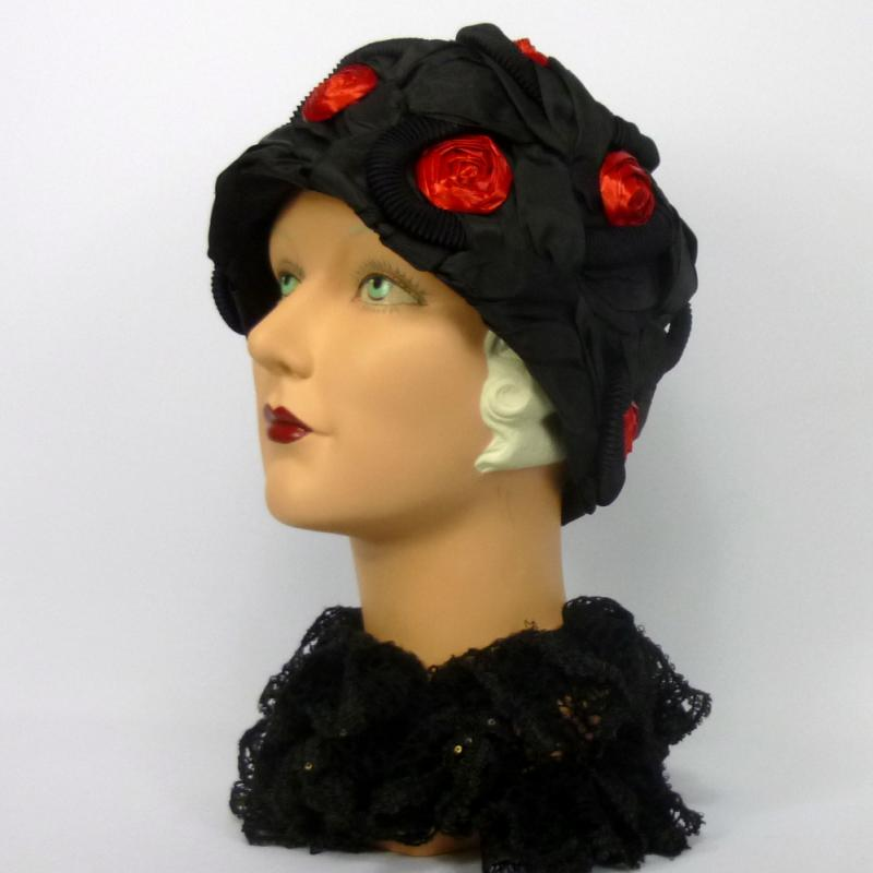 Black & Red Cloche Hat
