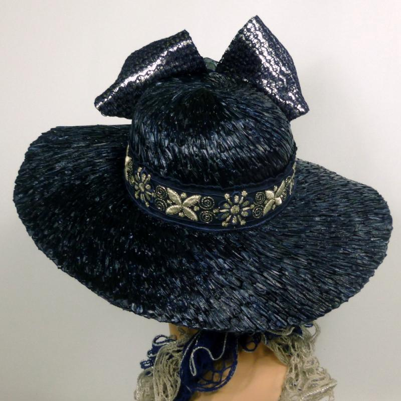 Navy Blue & Silver Straw Kentucky Derby Hat - Silver Lamé - Hand Made
