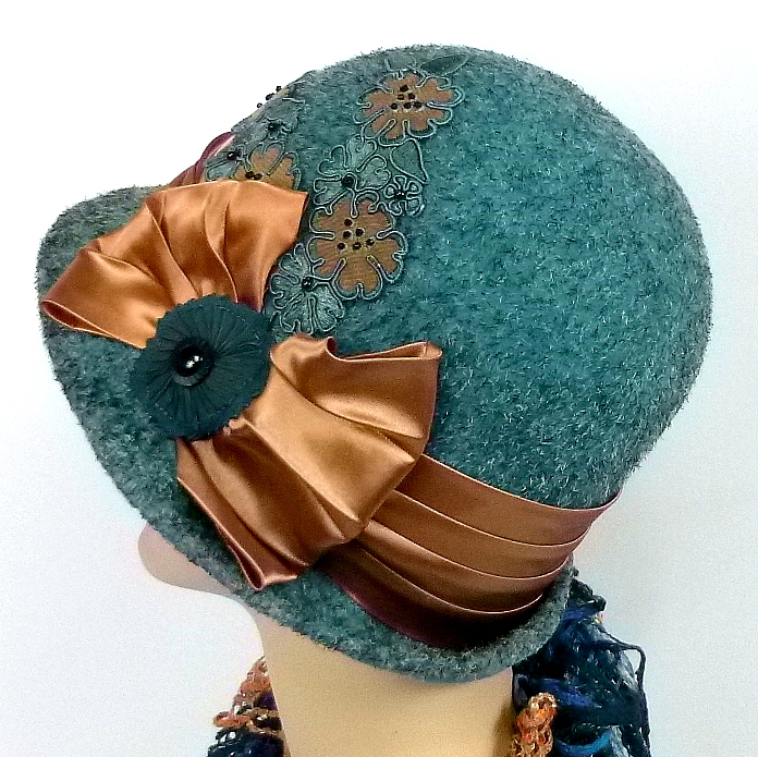 Teal felt cloche with bronze accents