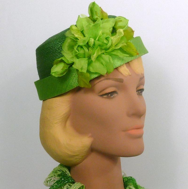 Green on Green Pillbox Straw Hat - Vintage Flowers