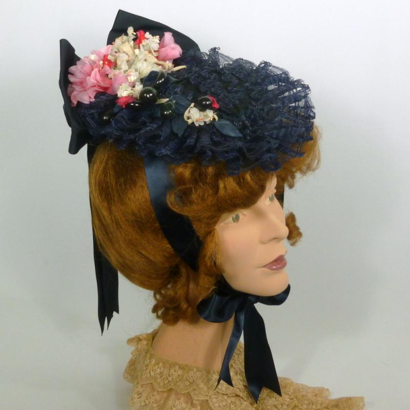 Navy blue crin and straw reproduction 1870s Victorian Traveling Hat