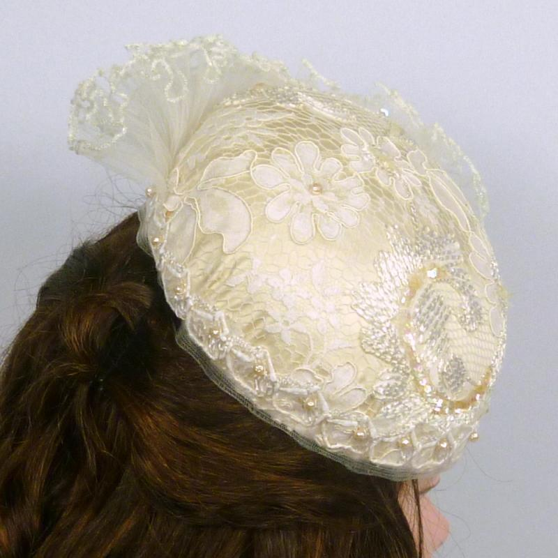 White Satin & Lace Beaded Fascinator - Wear 3 ways