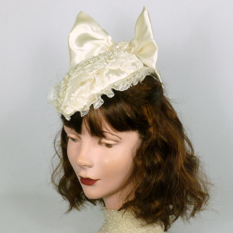 Creamy White Satin & Lace Beaded Bridal Fascinator Hat - French Chantilly Lace