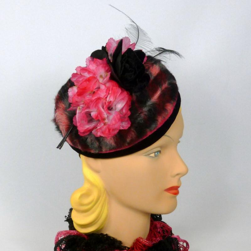 Argyle Faux Fur Pillbox Hat - Black & Pink - Vintage Fabric, Flowers, and Feathers