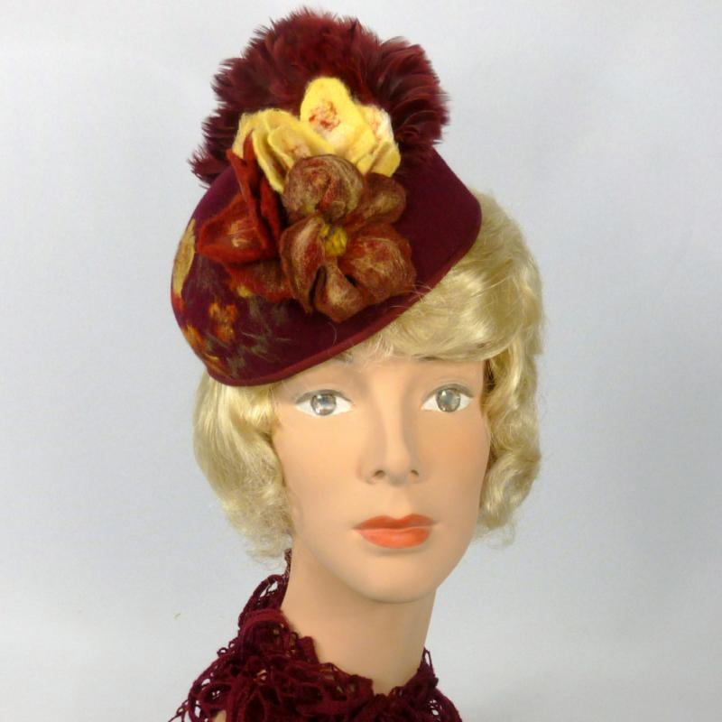 Wine Felt Pillbox Fascinator Hat - Felted Flowers & Scene on Side