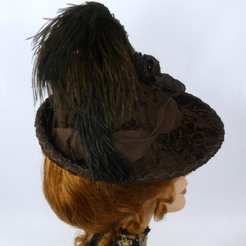 Victorian Style Hat - 1800s 1900s- Brown Patterned Velvet