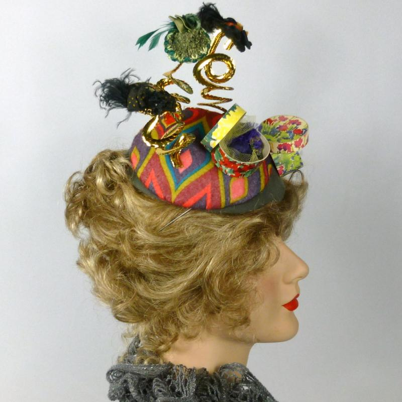 Hat Show - A Multicolored Felt Button Fascinator with 5 Miniature Hats on Display