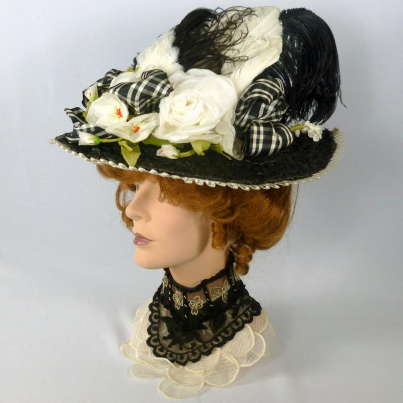 Victorian reproduction black straw picture hat plaid ribbon Gibson Girl