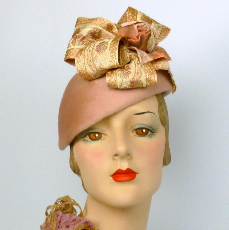 Mauve Pink Fascinator Beret - Vintage Beaver Fur Felt - French Ribbon