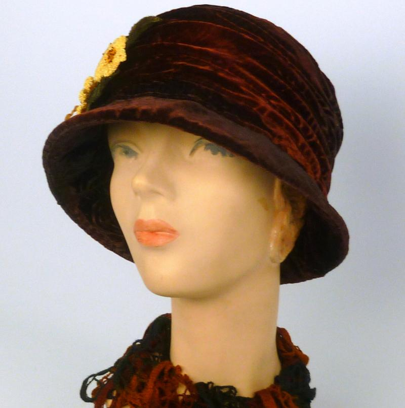 Brown Rust Velvet Cloche with Vintage Crochet Flowers