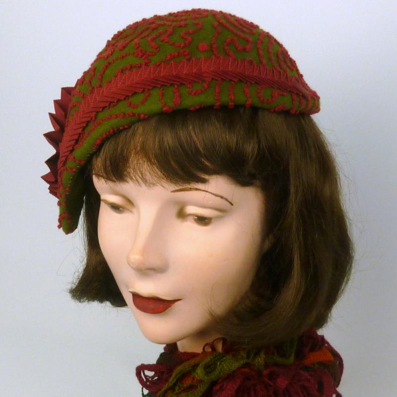 moss green and garnet cloche