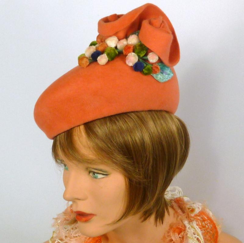 Deep Coral Tam Fascinator Hat- Vintage Velour Fur Felt- Hand Made