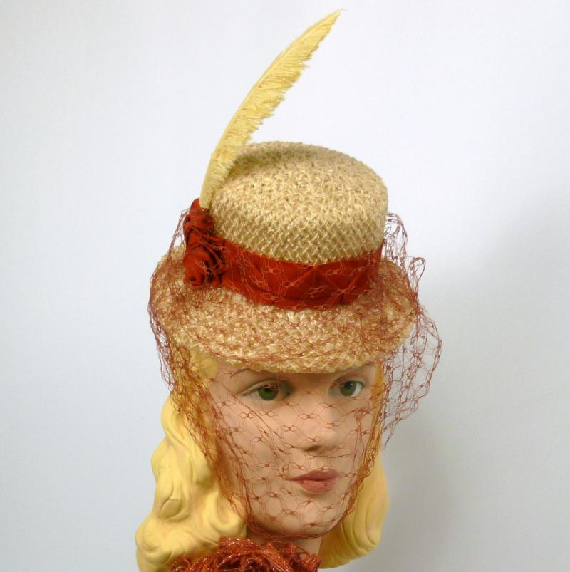 Mini Straw Top Hat - Pale Yellow & Rust - Hand Made - Ribbon Work