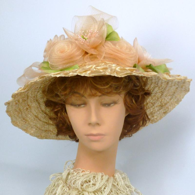 Light Pink Straw & Crin Picture Hat -Kentucky Derby -Sun Hat