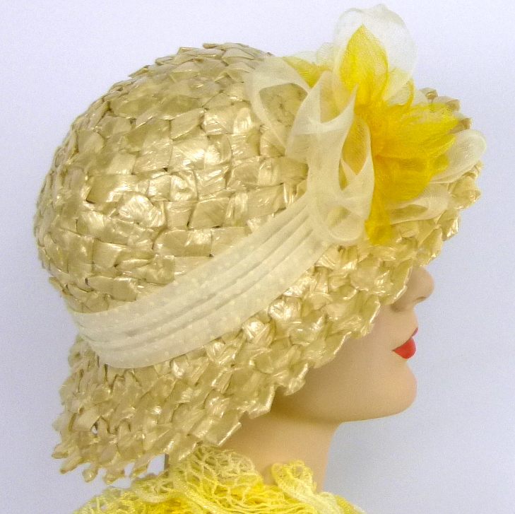 Oatmeal & Yellow Straw Sun Hat - Vintage Dotted Swiss Band