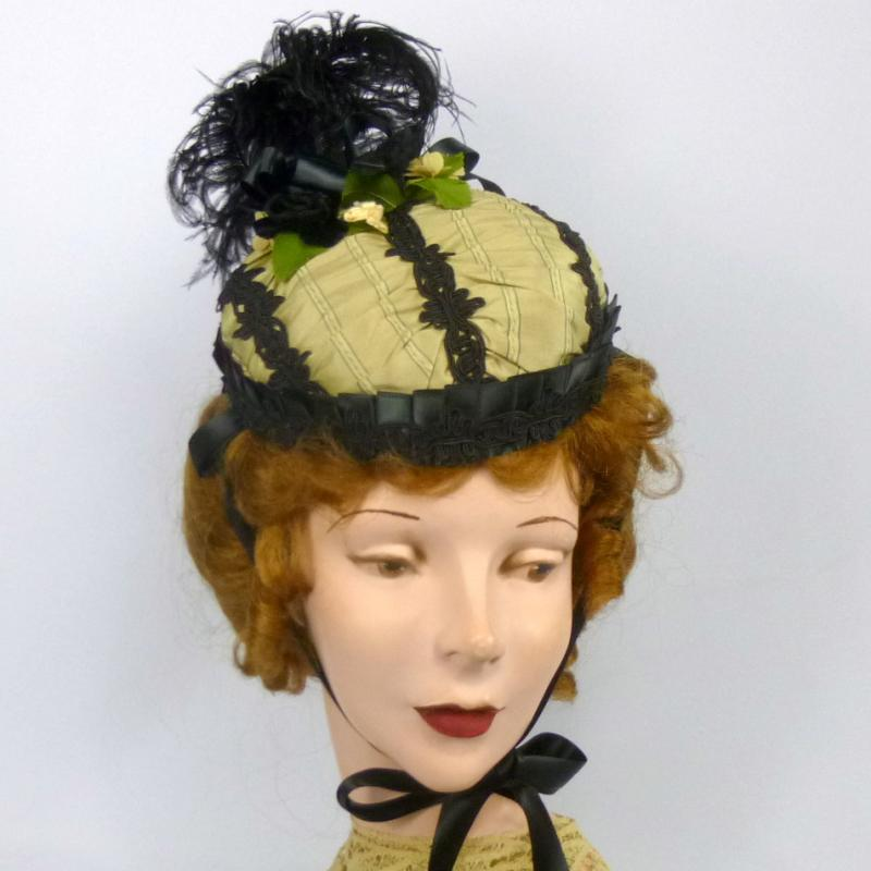 This is a reproduction of an 1860s bonnet hat