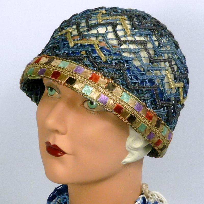 Woven Straw Cloche Hat in Shades of Blue - Vintage Period Embroidered Ribbon 4