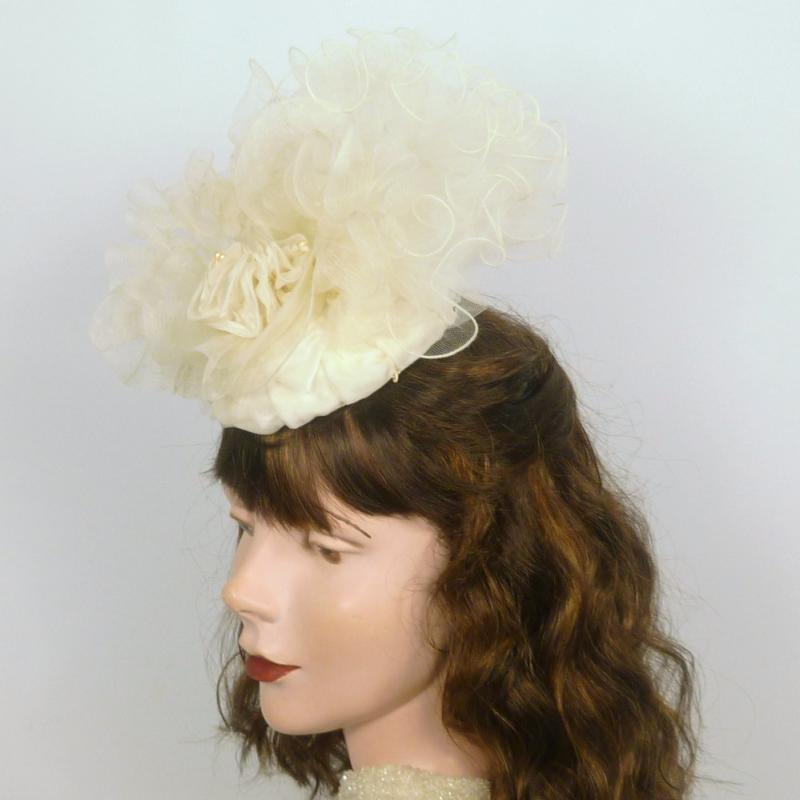 White Organza, Crin, and Veiling Fascinator