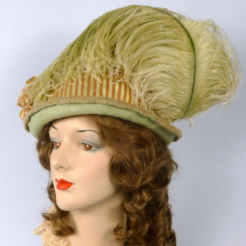 Green and Rose Beige Felt Victorian Style Hat