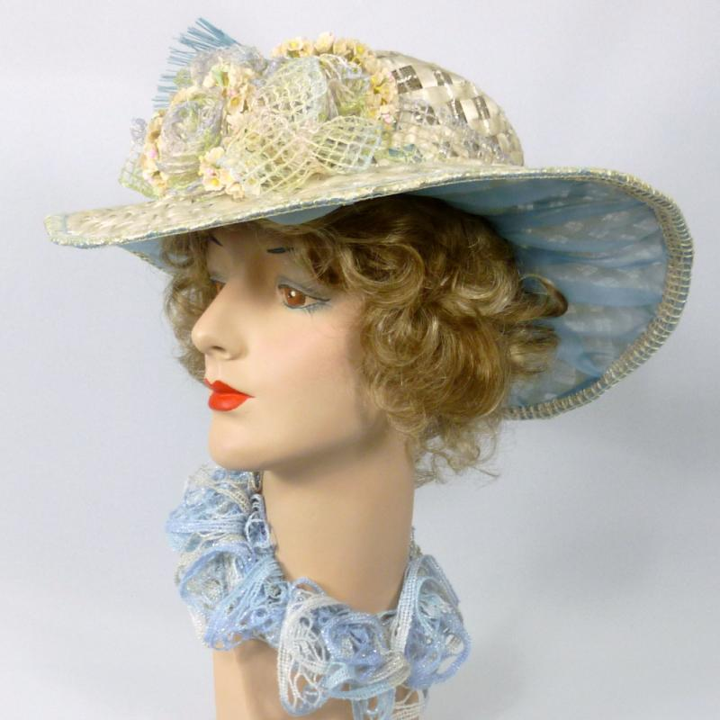 Ivory Straw Kentucky Derby Hat - Blue Accents