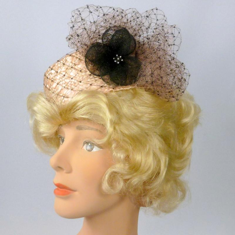 Pink & Black Straw Pillbox Hat - Handmade - Veiling