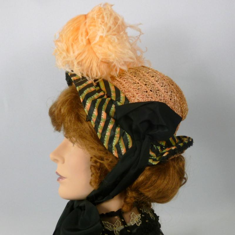 Reproduction 1800s Victorian Bonnet Hat Straw & Silk