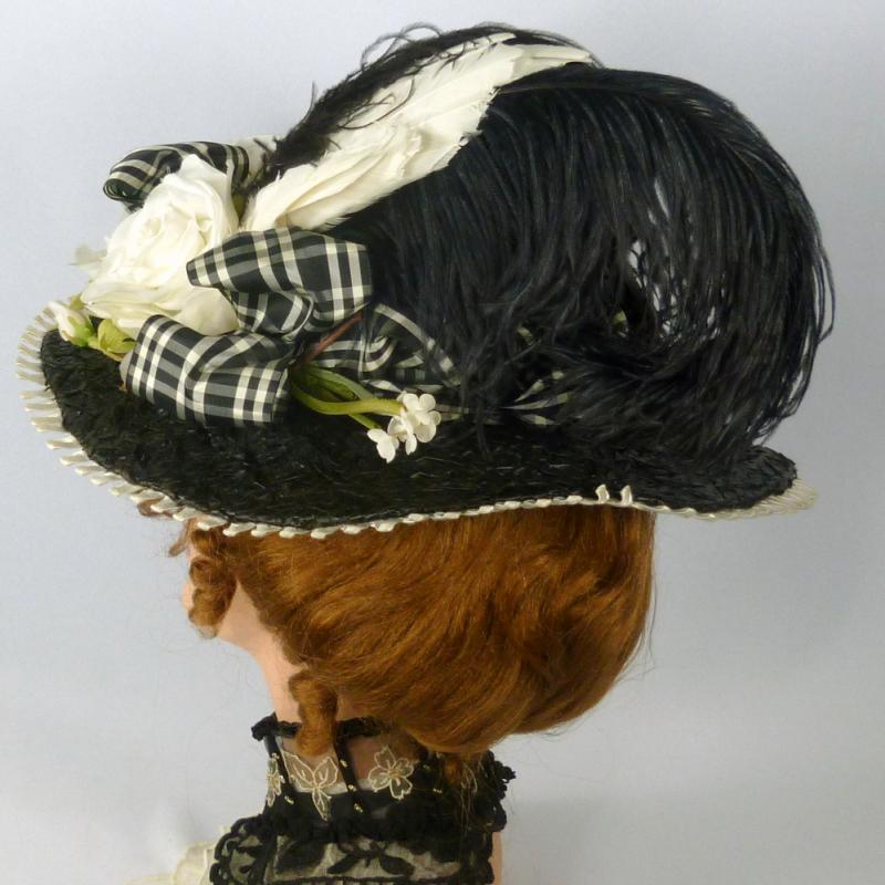 Victorian reproduction black straw picture hat plaid ribbon