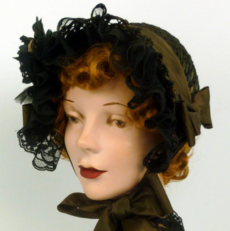 Repoduction 1800s Day Bonnet -Vintage Brown & Black Straw