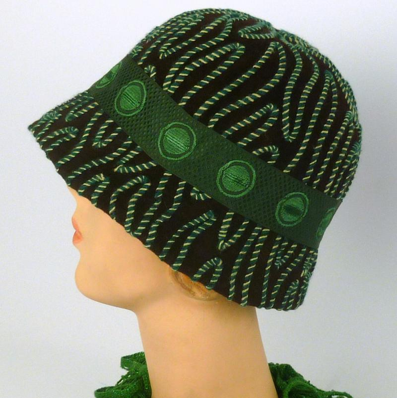Brown fur felt cloche with green and white accents