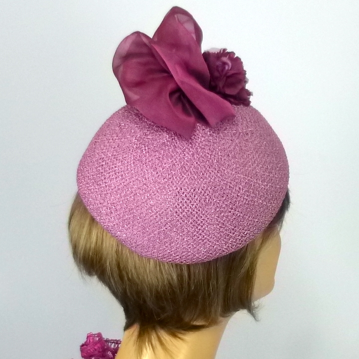 Orchid and Rose Violet Straw Fascinator Hat - Beret Shape - Organza