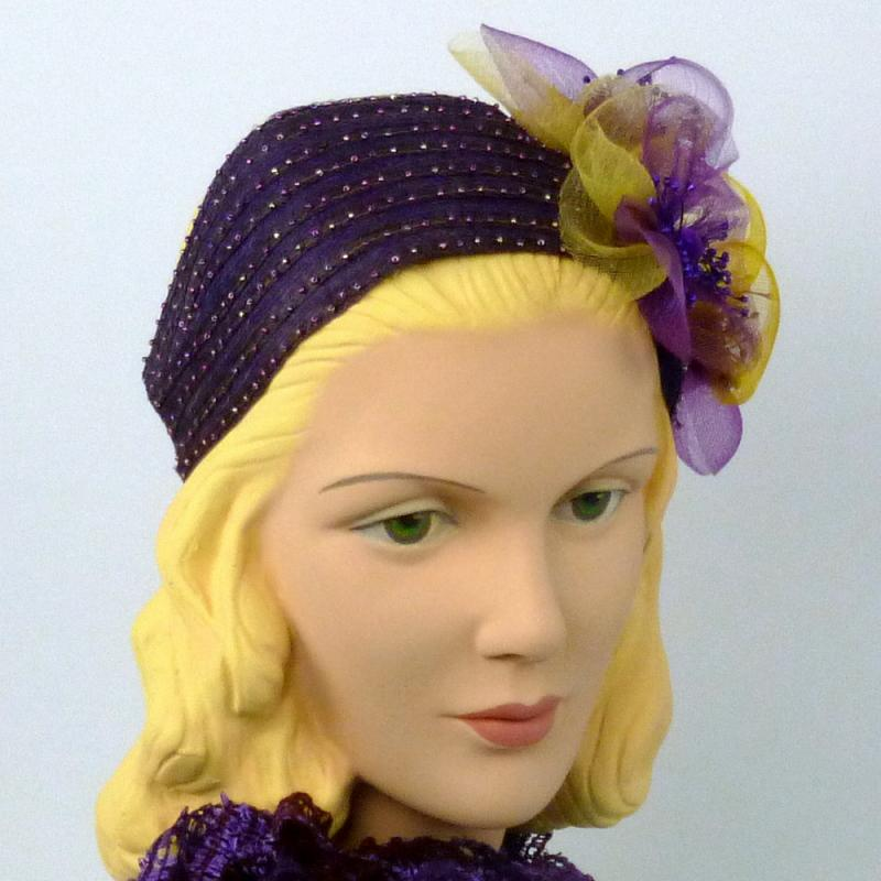 Purple Beaded Headband Fascinator Hat  - Hand Beaded