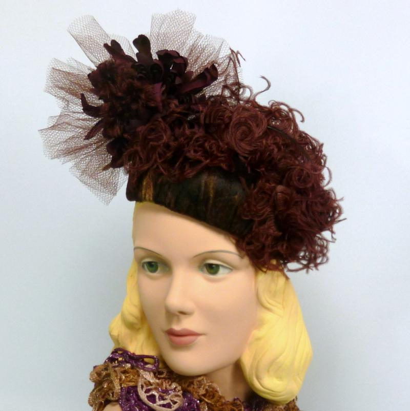 Panne Velvet Tam Fascinator Hat -Variegated Wine Burgundy & Purple