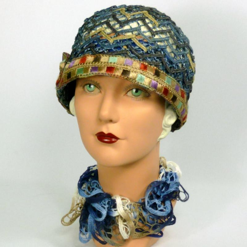 Woven Straw Cloche Hat in Shades of Blue - Vintage Period Embroidered Ribbon 5