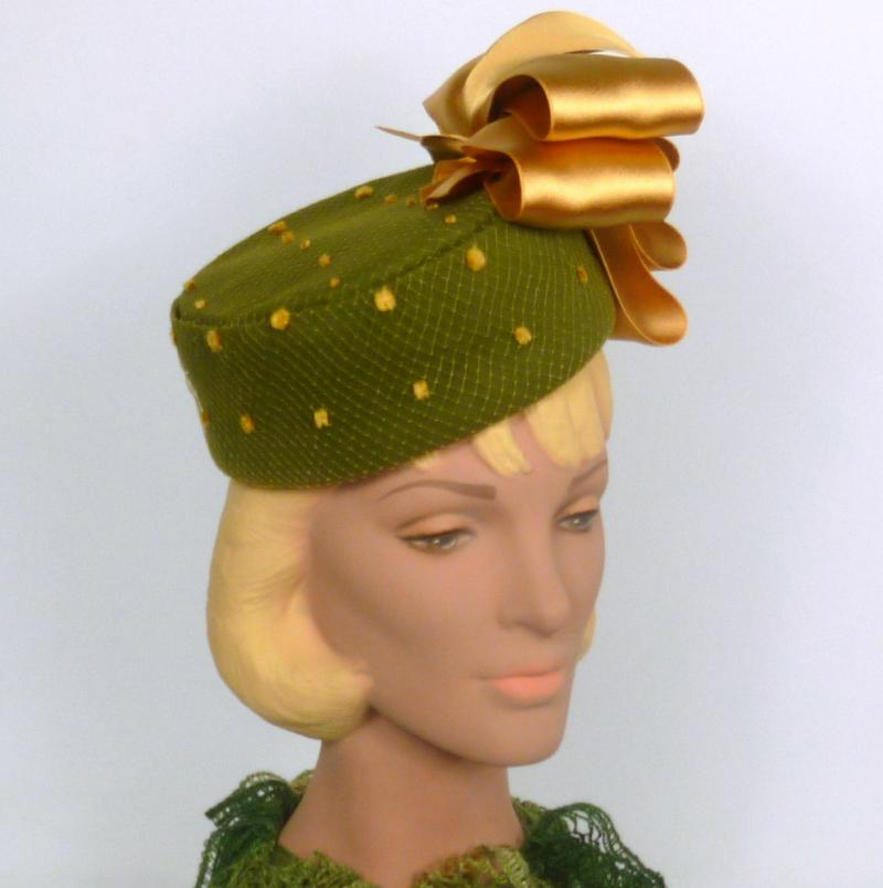 Olive Green and Gold Pillbox Fascinator Hat