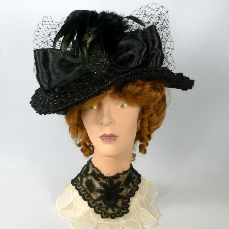 Black Victorian Reproduction black straw and satin